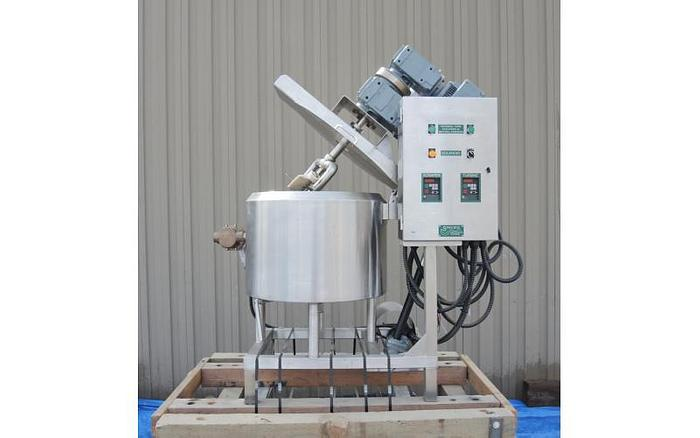 USED 25 GALLON JACKETED KETTLE, STAINLESS STEEL, WITH VARIABLE SPEED, DUAL AGITATION, TILT OUT