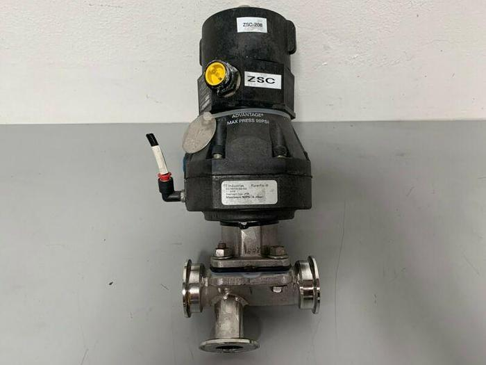 "Used ITT Sherotec 3-way Stainless Steel Valve w/ 2"" Sanitary Fit & Position Monitor"