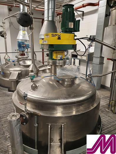 Used Webster 2,000 Litre Jacketed Mixing Vessel with 2018 SPX Atex Rated Mixer