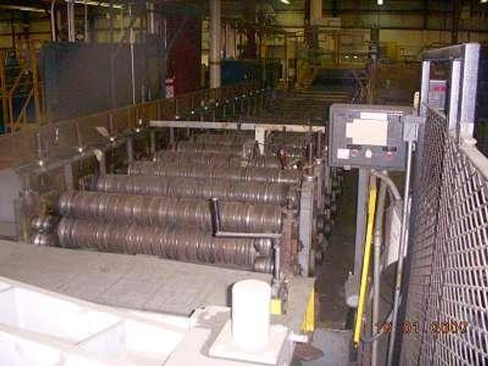 """16 stand Yoder Roll Forming Line; 54"""" Roll Space; Rib-Panel Tooling; Pay-off Reel; Coil Car; Embosser; Flying Cut-off; Stacker"""