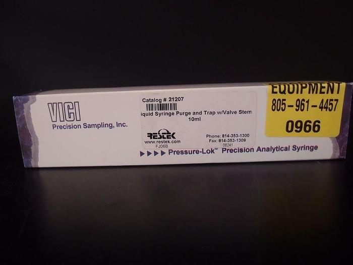 Used VICI Liquid Syringe Purge and Trap W/Valve Stem 10 ml (966)