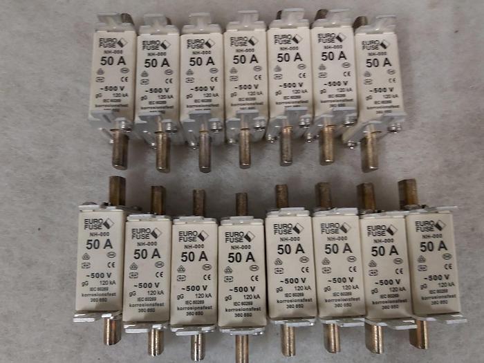 Gebraucht 15 Stück NH Sicherungseinsätze Größe 000, 50A, NH 000, 500V, Eurofuse,  gebraucht-Top