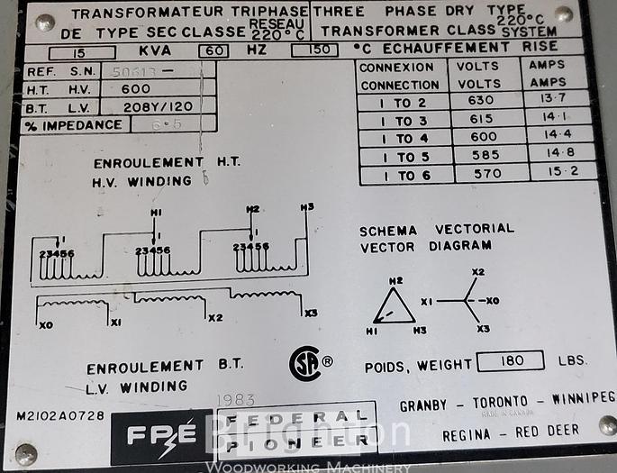 Used FPE Federal Pioneer 15KVA Transformer
