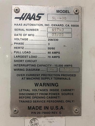 Used 2005 Haas SL-40T