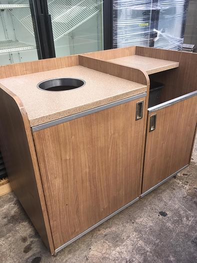 Used Commercial Trash-Can & Tray Receptacle