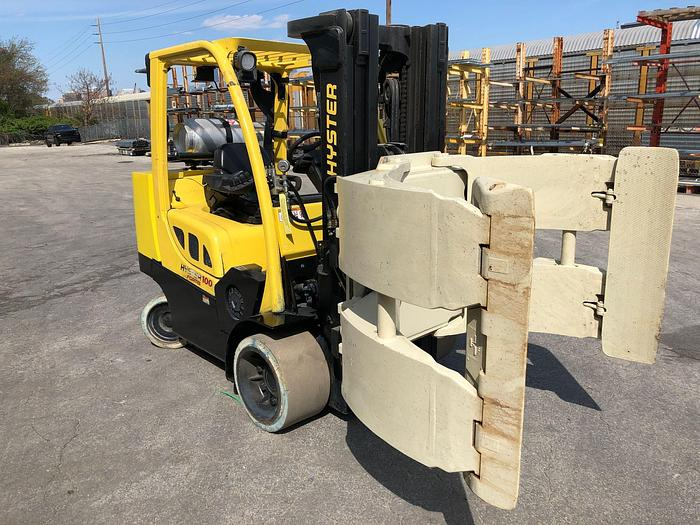 """Used 10,000 POUND HYSTER S100FTBCS W/ 60"""" CASCADE ROLL CLAMP MFG. 2012"""