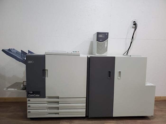 Used Riso ComColor 7150 X1 Full Color Printer with Wrapping Envelope Finisher and IS950C RIP Print Controller
