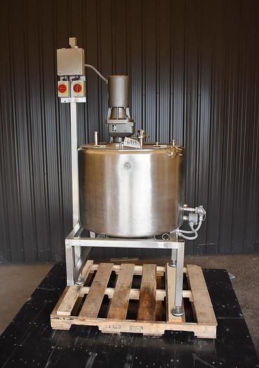 Used USED 60 GALLON JACKETED STAINLESS STEEL TANK, WITH SWEEPER STYLE MIXER