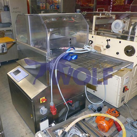 Gebraucht gebr. Überziehmaschine SOLLICH Type TTS-420 mit Auslauftisch und Rollenhalter.