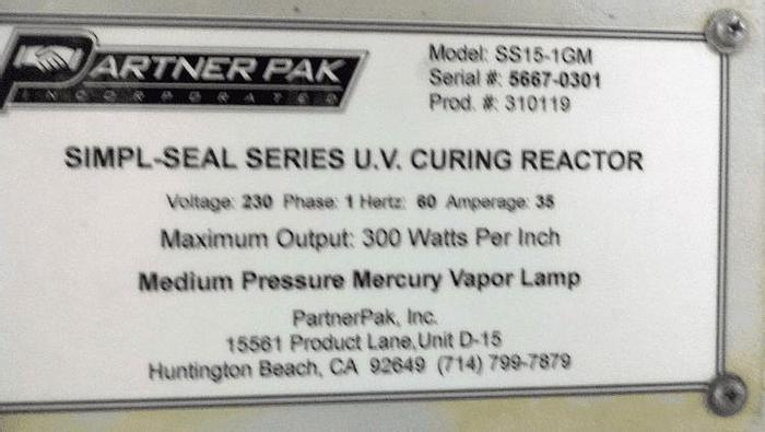 Used SIMPL-SEAL SERIES U.V. CURING REACTOR