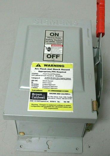 Used Siemens HNF361J 600V Non-Fusible Heavy Duty Safety Switch