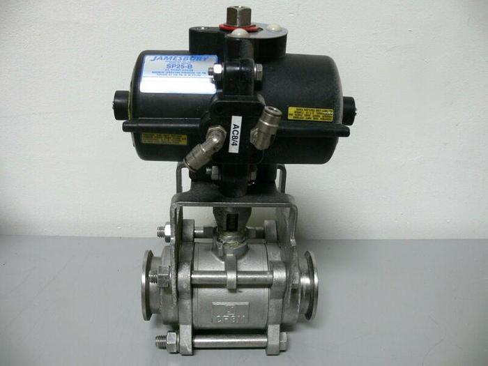 "Used JAMESBURY SP25-B 125 PSI Actuator w/ 2"" 3C-3600TT-3 Stainless Steel Ball Valve"