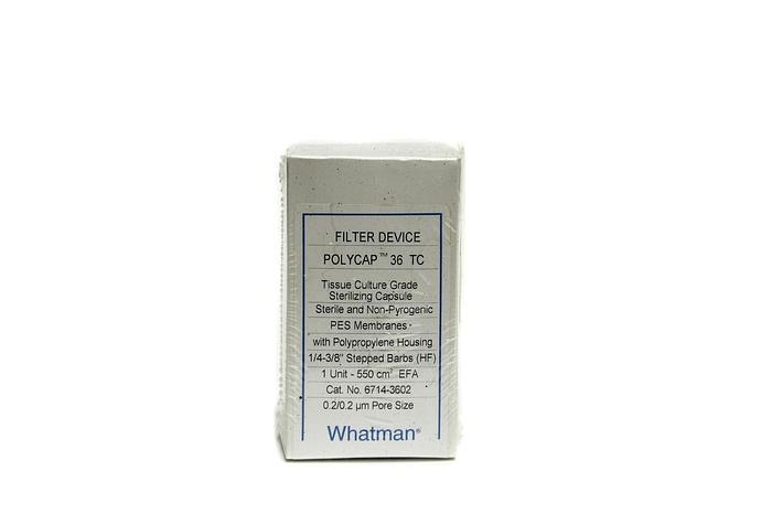 Used Whatman Polycap 36 TC Capsule Filter 0.2/0.2 µm sterile WHA67143602 (2994)