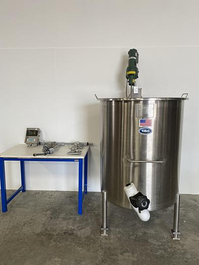 Used T&C  T-201 800 Liter Stainless Steel Mixing Tank w/ Agitator and Load Cells
