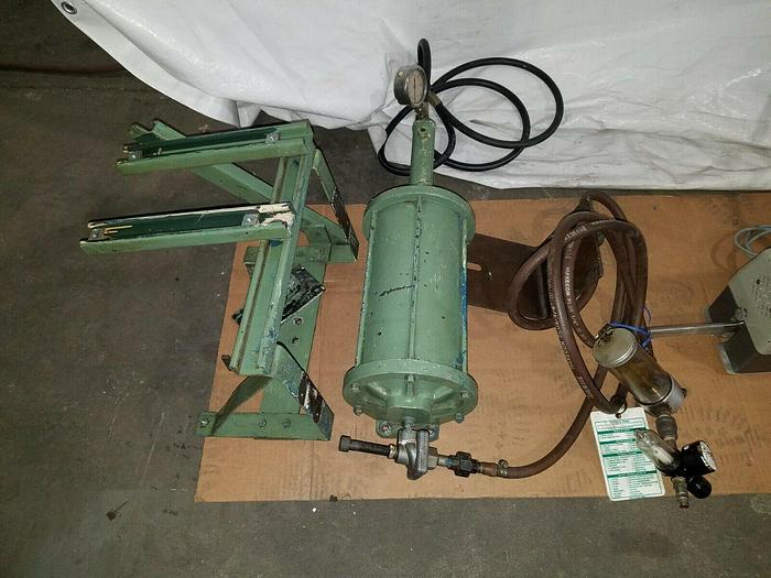 """Used Pneumatic Cylinder with mounting bracket Air Piston 12"""" Stroke x 5"""" Dia."""