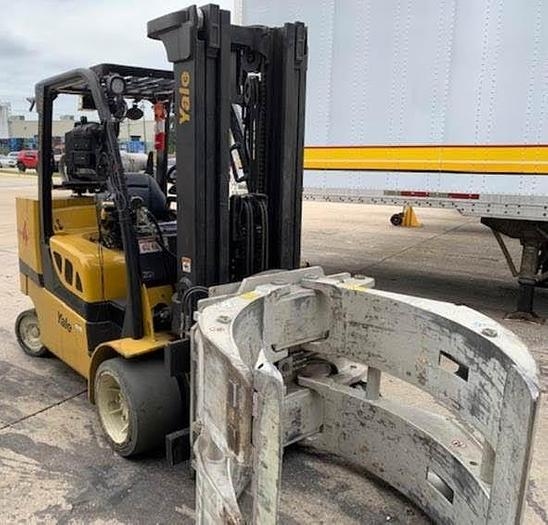"""Used 12,000 POUND YALE ROLL CLAMP TRUCK MODEL GLC120VXPRS W/ 72"""" CLAMP MFG. 2015"""