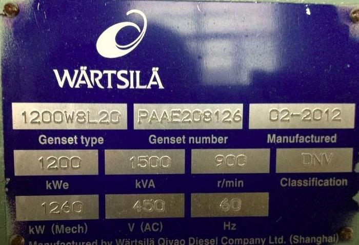 Wartsila W8L20 Unused generator set with certificates