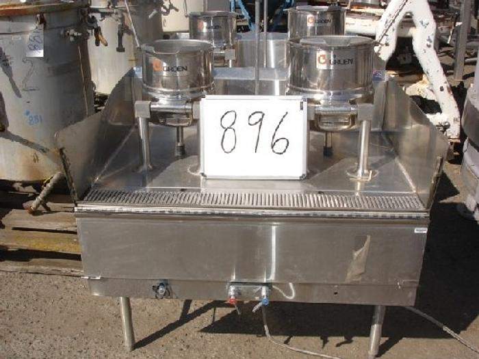 Used Groen 10 & 20 Qt. Table-Top Common-Mounted Jacketed Lab Kettles