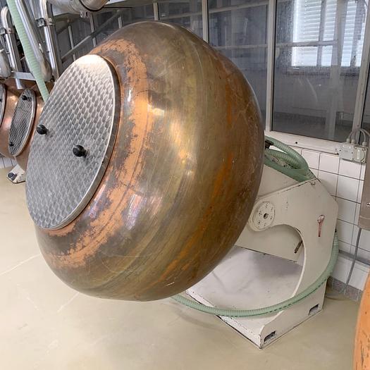 Gebraucht gebr. Kupfer-Drageekessel DRIAM ca. 120 Liter Inhalt , schwenkbar.