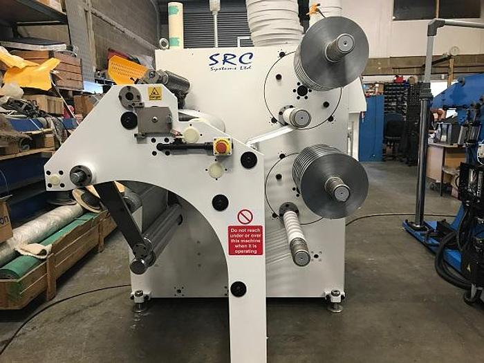 "Used 19.5"" (495MM) NEW SRC SYSTEMS MODEL 750 TURRET NARROW WEB SLITTER REWINDER"