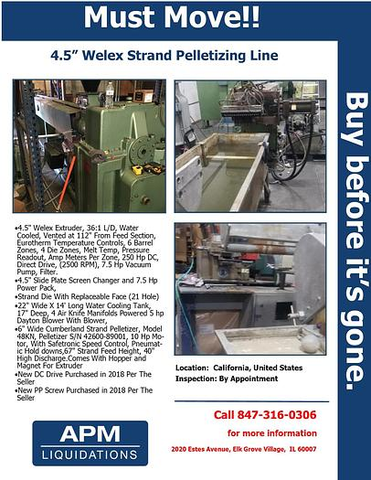 "Used 4.5"" Welex Strand Pelletizing Line"