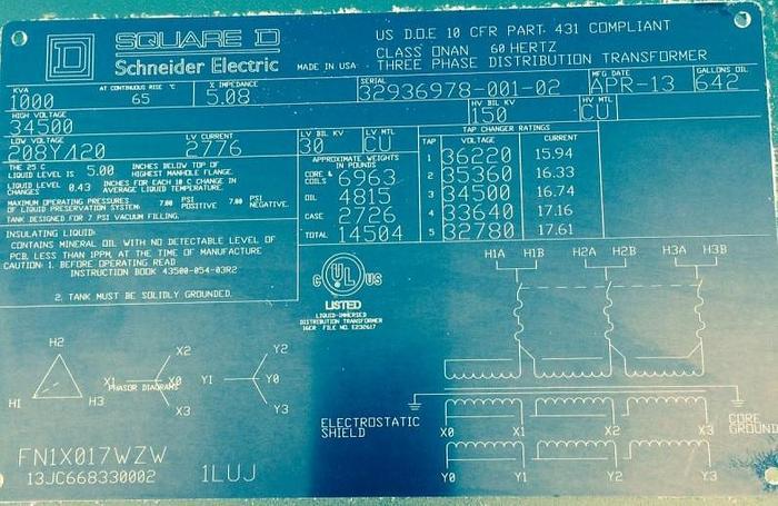 Used 1000 KVA Pad Mount Transformers