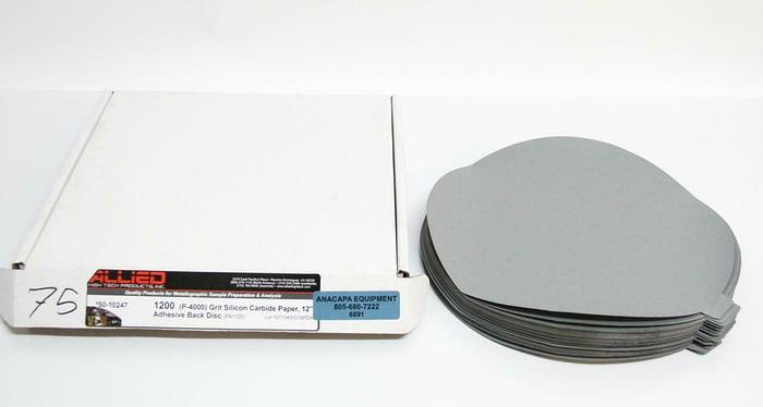 "Allied 50-10247 1200 Grit Silicon Carbide Paper 12"" Adhesive Disc LOT OF 75 6891"