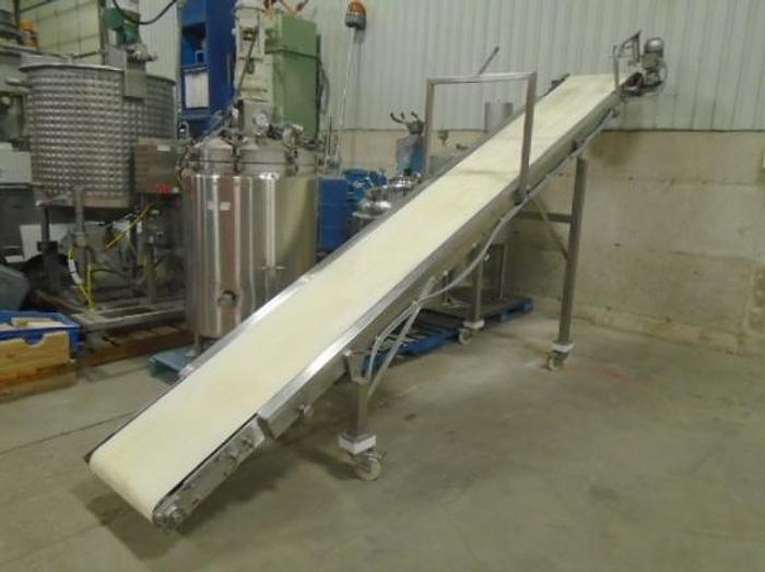 "USED BELT CONVEYOR, 22"" WIDE X 192'' LONG, STAINLESS STEEL, SANITARY"