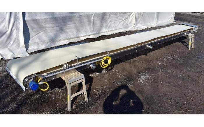 "USED BELT CONVEYOR, 24"" WIDE X 264'' LONG, STAINLESS STEEL, SANITARY"