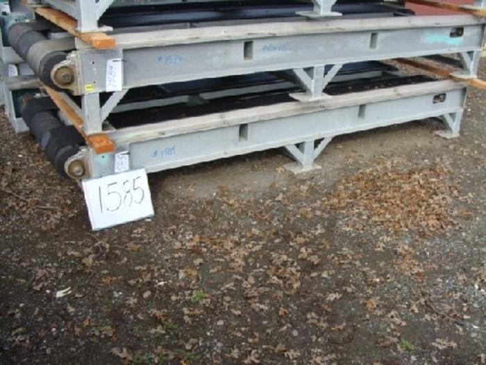 "Rubber Belt Pallet Conveyor 40 wide x 10' long 16"" high conveyor with dual 12"" wide rubber belts galvanized support frame 5 Hp gearmotor drive"" #1585"