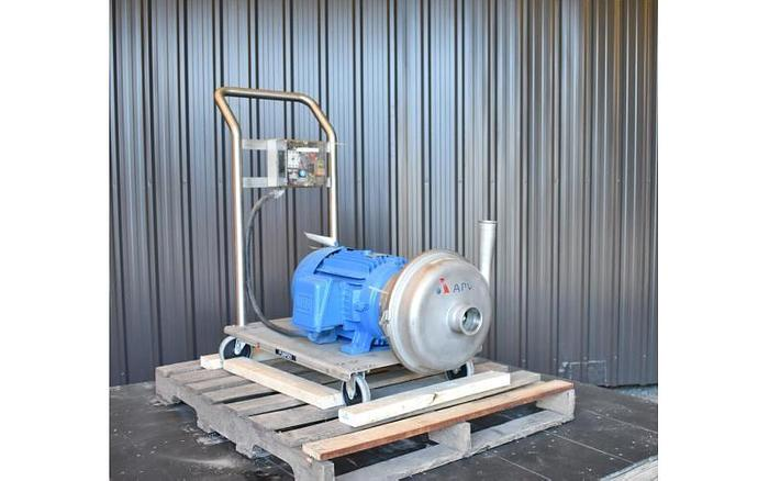 """USED APV CENTRIFUGAL PUMP, 3"""" X 2"""" INLET & OUTLET, STAINLESS STEEL, SANITARY"""