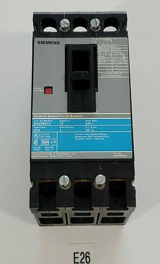 Used *PREOWNED* Siemens ED23B015 15 Amp 240V 3 Pole Circuit Breaker + Warranty!