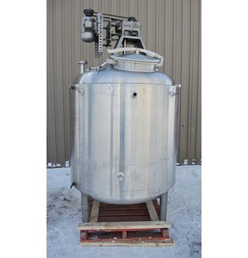 USED 540 GALLON JACKETED TANK, 316 STAINLESS STEEL, SANITARY, WITH 1 HP MIXER