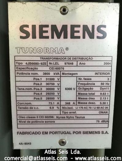 Siemens Tunorma Oil immersed 3 phase Power Transformer 3800 kVA / 30000 V to 6300 V / 50 Hz