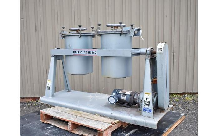 USED PAUL O ABBE PIVOTING JAR MILL, 2X 10 US GALLONS
