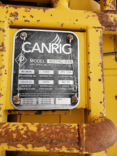 Used Canrig 6027AC Top drive 275 tons capacity 5000 psi very good condition with TDSU House