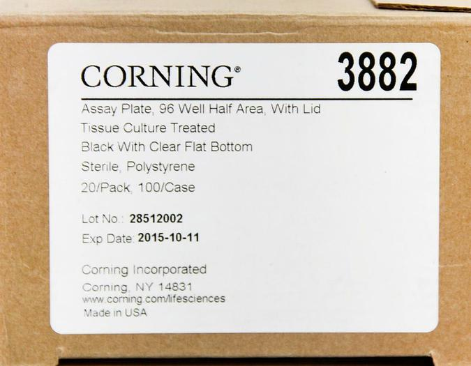Corning Assay Plate 96 Well Half Area W/ Lid 3882 Sterile Case of 99, NEW (4736)