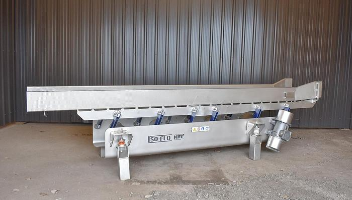 Used USED KEY ISO-FLO VIBRATORY FEEDER, STAINLESS STEEL, 18'' WIDE X 150'' LONG