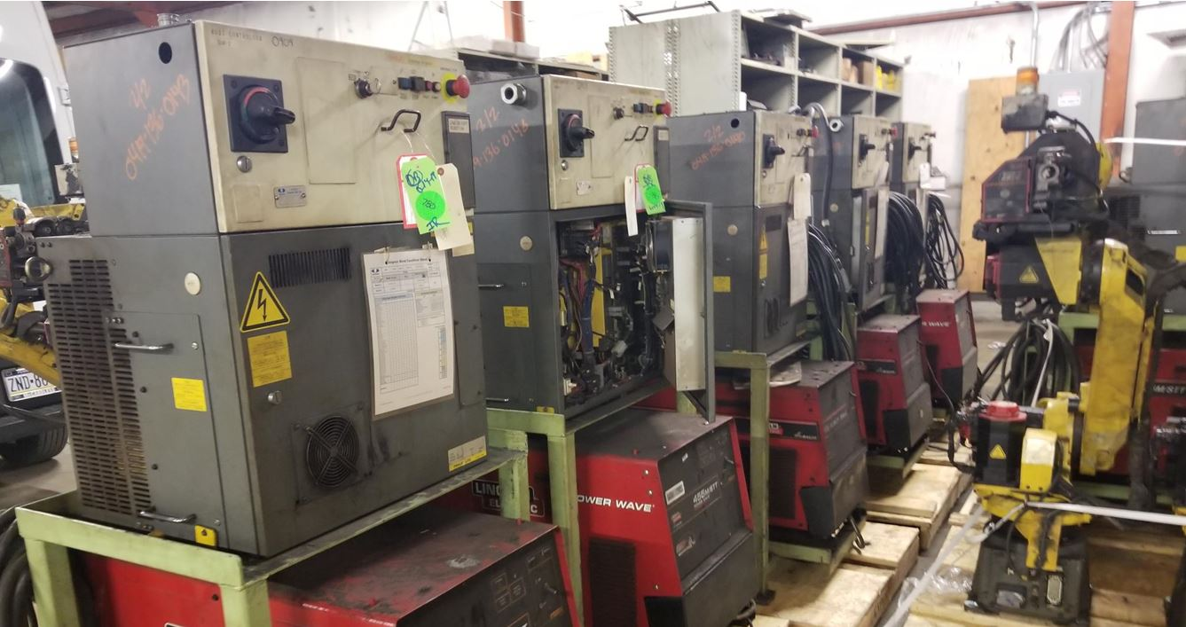 4-FANUC ARCMATE 120iC/20 WITH R-30iA CONTROL AND LINCOLN POWERWAVE 455M