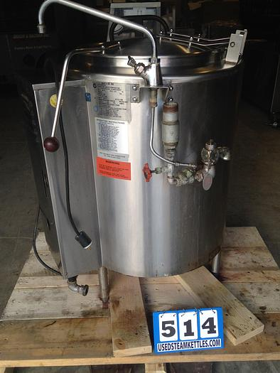"""Used GROEN AH-1-20, 20 GAL. NAT. GAS SELF CONTAINED STEAM KETTLE w/ Cover, & 1.5"""" TDO Valve, BEER, BOIL, COOK, SAUCE, SOUP, STOCK #514.    AMERICA'S STEAM KETTLE HEADQUARTERS !"""