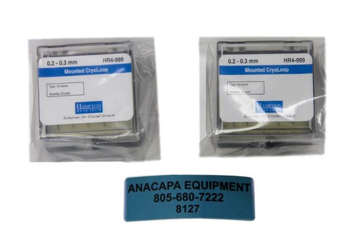 Hampton Research HR4-999, 0.2 - 0.3 mm Mounted CryoLoop Lot of 2 New (8127)W