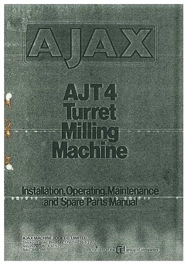 Used Manual for AJAX Turret Milling Machine