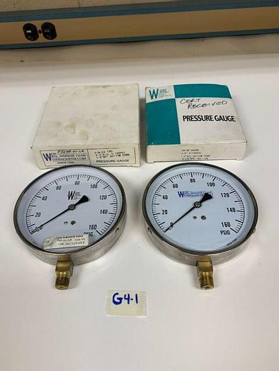 """Used 2-WGTC EA14D  . Stem Mount Gauge — 0-160 PSI pressure gauge 4.5"""" dial 1/4"""" NPT"""