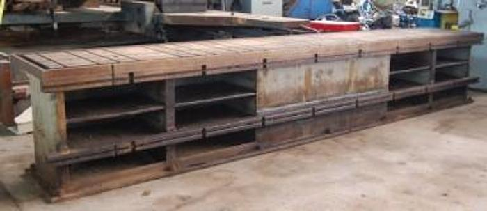 "Used Cast Iron T-Slotted Work Table 35"" x 216"" (18')"