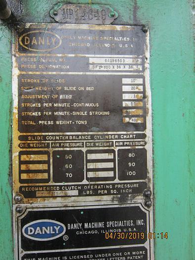 1960 Danly SF1-800 x 36 x 36