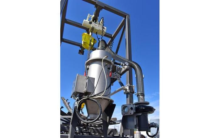 USED SHICK BULK SUPER SACK UNLOADER, WITH HOIST, BAG MASSAGERS, DUST COLLECTOR & ROTARY VALVES
