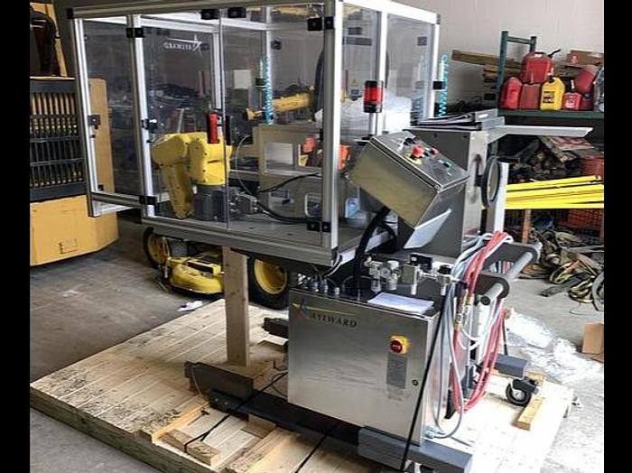 Used FANUC LR MATE 200iD/4S CNC ROBOTIC PACKAGING CELL FROM THE PHARMA INDUSTRY W/FANUC R-30iB MATE CONTROLLER