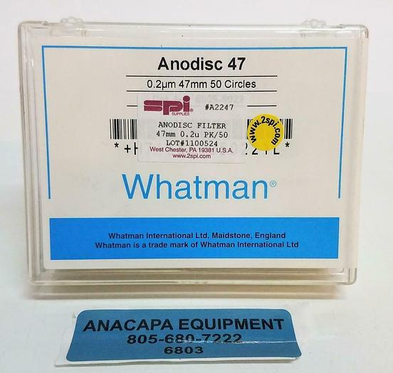 SPI Whatman Anodisc 47 Membrane Filters A2247 SPI 0.2µm 47mm X 30  NEW (6803)Z