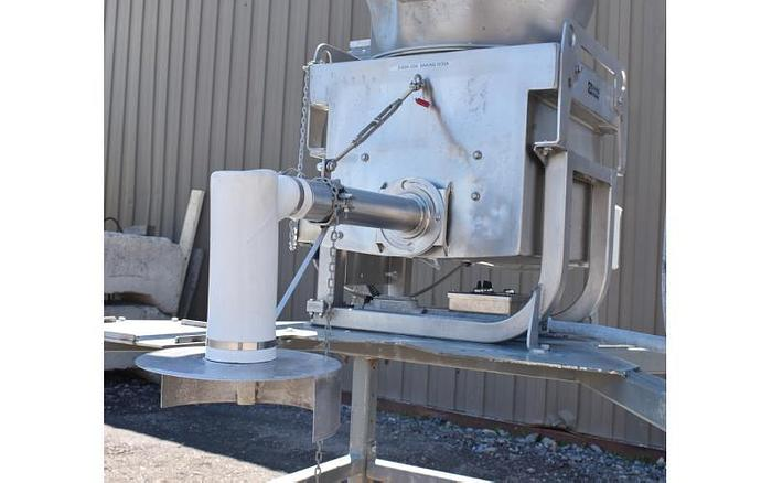 USED 20' TALL SCHENK ''SAC MASTER'' SUPER SACK UNLOADER, WITH HOIST, SCREW FEEDER AND BAG SCALE