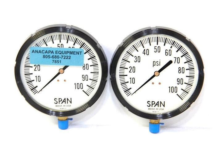 "Span 05-0011-T Pressure Gauge 0-100 PSI Size 5"" 1/4"" NPT NEW LOT OF 2 (7851)R"